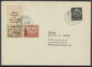 Dt. Reich, Mi. S 244, portogerechter Orts-Brief, Mi. 30,- (13711)