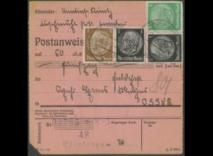 Dt. Reich, Mi. W 71 (4) + W 77 (4), portogerechte Postanweisung (13745)