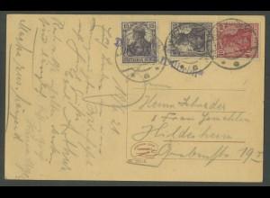Dt. Reich, Mi. S 9 aa, portogerechte Fern-Karte, gepr. BPP, Mi. 60,- (13751)