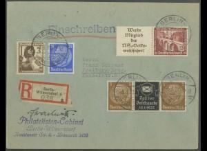 Dt. Reich, Mi. P-W 2 + W 111, auf R-Brief (13782)