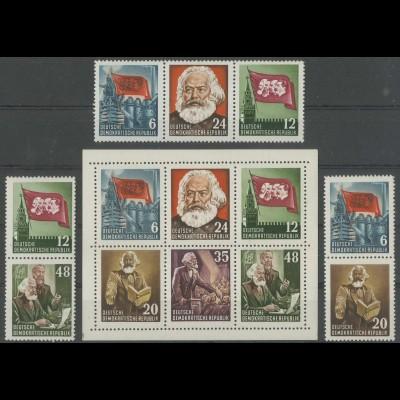 DDR, 3 Block-Zd. + Herzstück YI, postfrisch, gepr. BPP, Mi. 165,- (13796)
