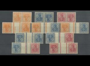 Dt. Reich, K 1-3, KZ 1, 2 (2), 3, 4 (2), 5, postfrisch, Mi. 96,- (13913)
