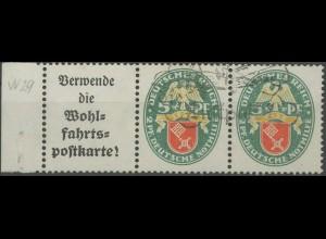 Dt. Reich, W 34 LR, gestempelt, vollständige Zähnung, Mi. 60,- (14076)