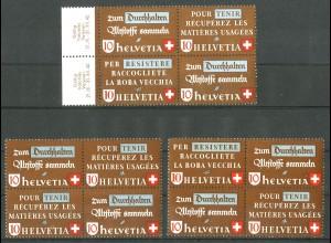 Schweiz, Altstoffe, 3 Viererblocks, postfrisch, SBK 115,- (14243)