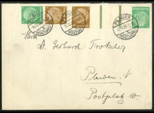 Dt. Reich, Mi. KZ 25 + S 129, portogerecht auf Orts-Brief (14431)