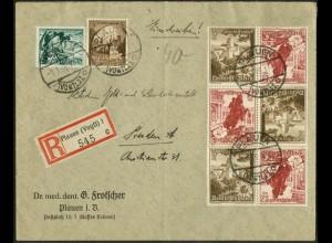 Dt. Reich, Mi. K 34 (3), portogerechter R-Brief, Mi. 38,- (14444)