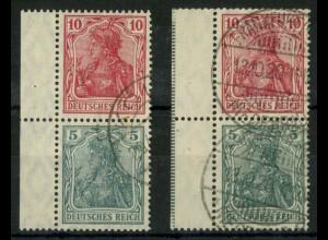 Dt. Reich, S 5 LR (2), gest., dgz Rand + StrL, Mi.-Handbuch 60,- (14498)
