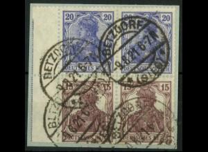 Dt. Reich, S 10 (2), Briefstück, 1x LR 2, gepr., Mi.-Handbuch 40,- (14530)