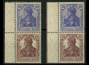 Dt. Reich, S 10 LR 1 (2), postfrisch, 2 versch. Ränder, Mi.-Handbuch 40,- (14531)