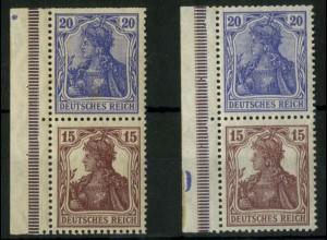 Dt. Reich, S 10 LR 3+5, postfrisch, 2 versch. Ränder, Mi.-Handbuch 70,- (14532)