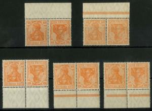 Dt. Reich, K 1 (5), mit 5 versch. Rändern, postfr., Mi.-Handbuch 50,- ++ (14607)