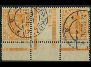 Dt. Reich, KZ 1 UR, gestempelt, gepr. Infla, Mi.-Handbuch 400,- (14614)