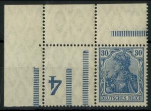 """Dt. Reich, RL 3 EOL, Ecke mit BKZ """"4"""", postfrisch, Mi.-Handbuch 150,- (14673)"""