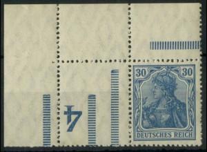 """Dt. Reich, RL 3 EOL, Ecke mit BKZ """"4"""", postfrisch, Mi.-Handbuch 150,- (14675)"""