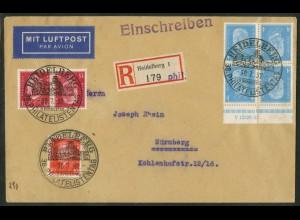 Dt. Reich, K 9 HAN 2.2, portogerechter Fern-Brief, Mi.-Handbuch 700,- (15088)