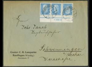 Dt. Reich, K 9 HAN 2.2, portogerechter Fern-Brief, Mi.-Handbuch 700,- (15095)