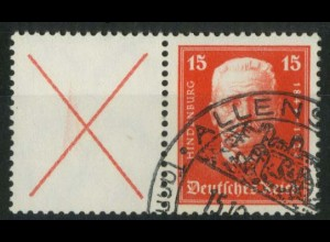 Dt. Reich, W 25 PF II, gestempelt, mit Plattenfehler, Mi.-Handbuch 350,- (15260)