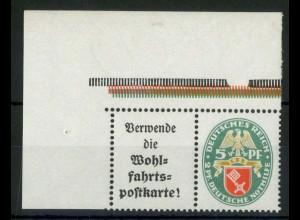 Dt. Reich, W 34 EOL 2, postfrisch mit ndgz Oberrand, Mi.-Handbuch 120,- (15460)