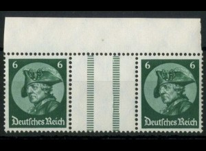 Dt. Reich, WZ 9 OR 1, postfrisch, ndgz Oberrand, Mi.-Handbuch 70,- (15658)