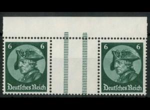 Dt. Reich, WZ 9 OR 3, postfrisch, ndgz Oberrand, Mi.-Handbuch 60,- (15659)
