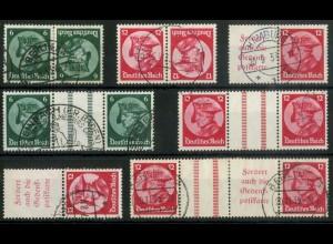 Dt. Reich, ex K 17 - WZ 11, Lot mit 7 versch. Zd., gestempelt, Mi. 405,- (15690)