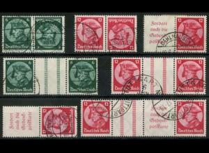 Dt. Reich, ex K 17 - WZ 11, Lot mit 7 versch. Zd., gestempelt, Mi. 405,- (15693)