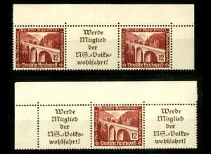 Dt. Reich, W 112 EOL 1 + W 114 EOR 1, postfrisch, Michel-Handbuch 90,- (16634)