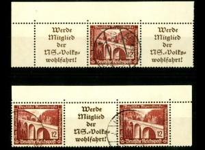 Dt. Reich, W 112 EOL 1 + W 114 EOR 1, gestempelt, Michel-Handbuch 90,- (16635)