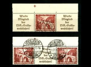 Dt. Reich, W 112 + 114, je OR 2, gestempelt, Michel-Handbuch 110,- (16654)