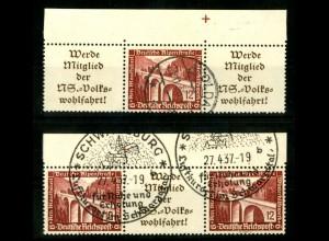 Dt. Reich, W 112 + 114, je OR 2, gestempelt, Michel-Handbuch 110,- (16655)