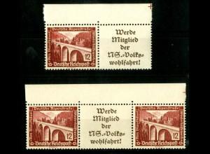 Dt. Reich, W 113 + 114 je OR 3, postfrisch, Michel-Handbuch 68,- (16660)