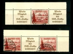 Dt. Reich, W 128 EOL 1 + W 130 EOR 1, gestempelt, Michel-Handbuch 140,- (16696)
