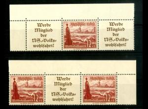 Dt. Reich, W 128 EOL 1 + W 130 EOR 1, postfrisch, Michel-Handbuch 140,- (16699)