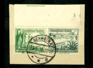 Dt. Reich, W 125 OR 5, Briefstück, Platten-Nr., Michel-Handbuch 120,- (16717)