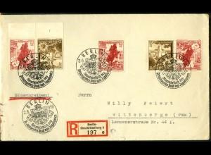 Dt. Reich, S 249 UR 2, portoger. R-Brief, Form-Nr., Michel-Handbuch 150,-(16854)