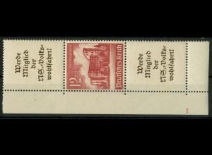 Dt. Reich, S 265 EUL 3, postfrisch, Platten-Nr., Michel-Handbuch 100,- (16945)