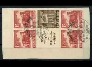 Dt. Reich, S 263 EOL 3, Briefstück, Platten-Nr., Michel-Handbuch 100,- (16949)