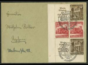 Dt. Reich, S 265 EUL 3, Fern-Brief, Platten-Nr., Michel-Handbuch 110,- (16970)