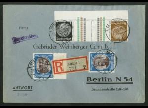 Dt. Reich, KZ 20 OR 2, portogerechter R-Brief, Michel-Handbuch 60,- (17125)