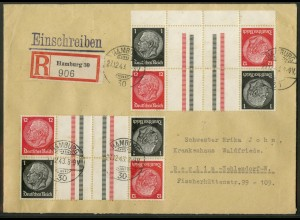 Dt. Reich, KZ 26 OR + KZ 26 (3), R-Brief, Michel-Handbuch 35,- (17307)