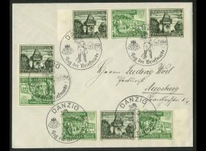 Dt. Reich, SK 35 + 2 Zd., Danzig-Brief, Michel-Handbuch 34,- ++ (17858)