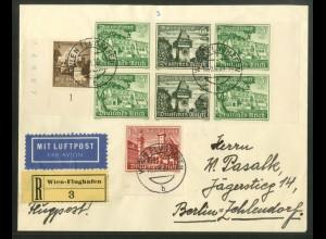 Dt. Reich, W 139 RR (2), portogerecht, Flugpost-R-Brief Wien (17865)