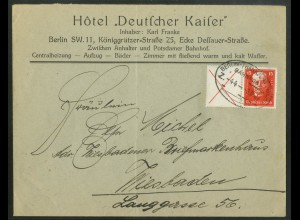 Dt. Reich, W 23, portogerechte Einzelfrankatur, Mi.-Handbuch 450,- (17965)
