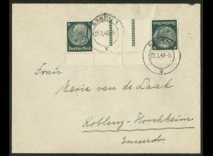 Dt. Reich, KZ 22.4 UR, portogerechte Einzelfrankatur, Mi.-Handbuch 55,- (18192)