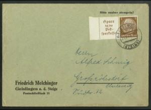 Dt. Reich, W 79 LR, portogerechte Einzelfrankatur, Mi.-Handbuch 35,- (18222)