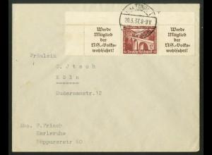 Dt. Reich, W 112 EOL 2, portogerechte Einzelfrankatur, Mi.-Handbuch 130,-(18270)
