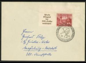 Dt. Reich, W 140 EOR 1, portogerechte Einzelfrankatur, Mi.-Handbuch 70,- (18309)