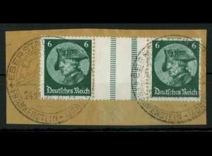 Dt. Reich, WZ 9 PF I, Plattenfehler, Briefstück, Mi.-Handbuch 150,- (18532)