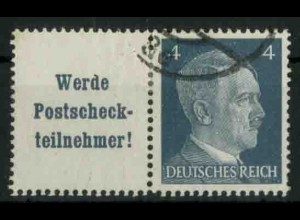 Dt. Reich, W 152 PF I, Plattenfehler, gestempelt, Mi.-Handbuch 100,- (18760)