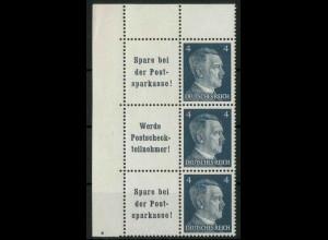 Dt. Reich, W 151 PF I (2x) + W 152, Plattenf., postfr., Mi.-Handb. 160,- (18796)